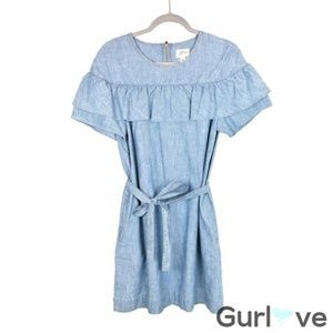 J. Crew Chambray Eddie Ruffle Dress Pockets Belt 8